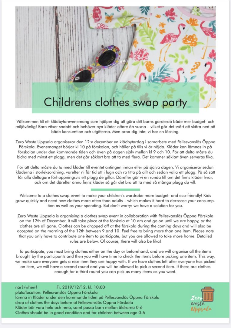 You are currently viewing Children's clothes swap party Thursday 12/12. Register at Svanslös or follow the link to the Facebook event site. Arr: Zero Waste Uppsala