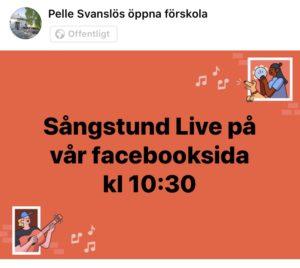 En annorlunda vecka börjar med, Live sångstund på facebook idag!