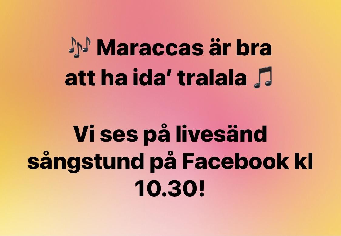 Livesänd sångstund på Facebook idag kl 10.30