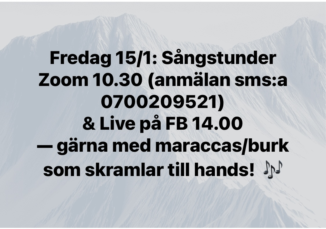 Sångstunder fredag 15/1