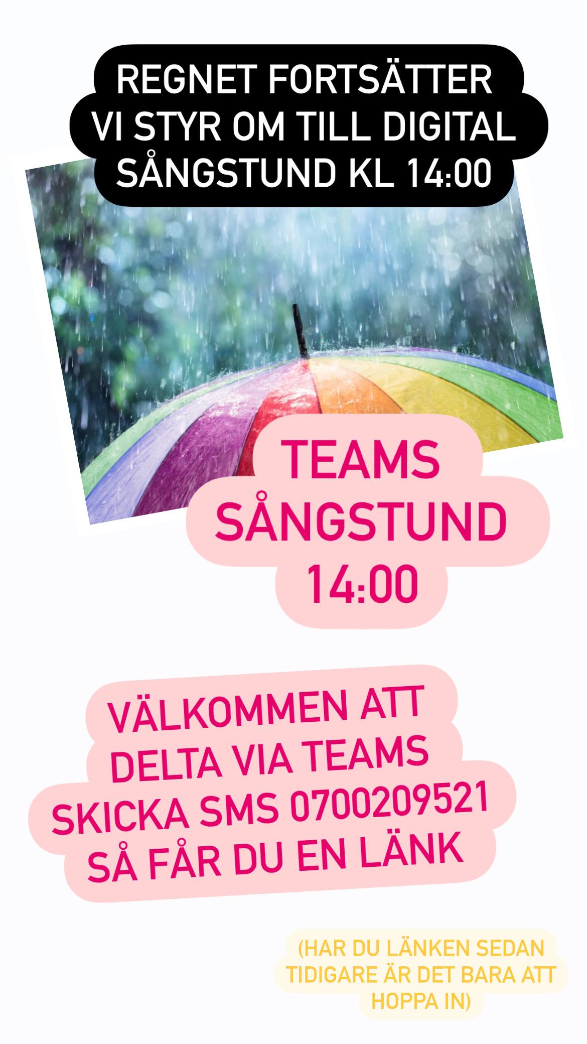 You are currently viewing Sångstunden 17/8 kl 14 blir på Teams och ej utomhus ☔️