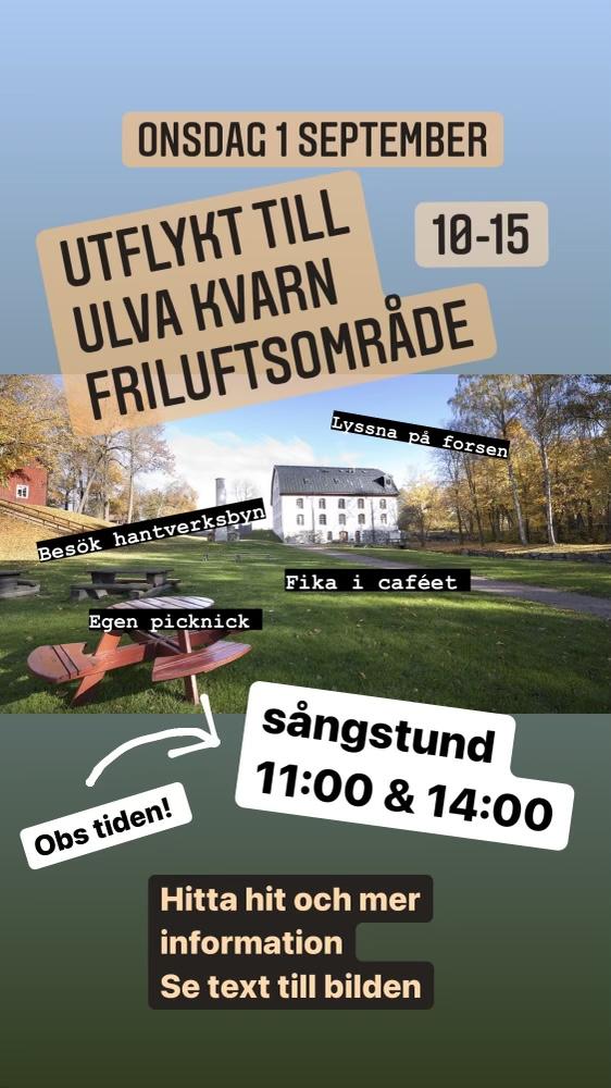 You are currently viewing Onsdagsutflykt till Ulva kvarn 3/9, kl 10-15