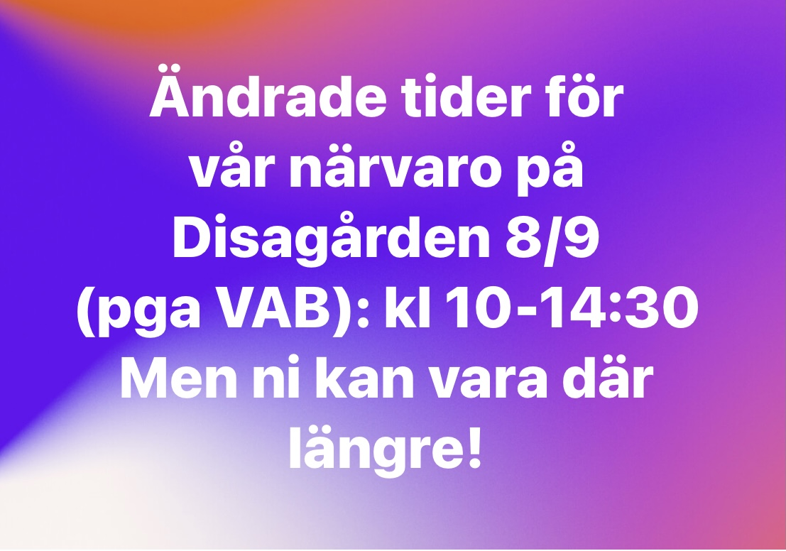 You are currently viewing Ändrade tider Disagården 8/9