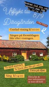 Läs mer om artikeln Onsdagsutflykt till Disagården 8/9 kl 10-14:30