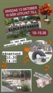 Läs mer om artikeln Onsdagsutflykt till till Klockarparken i norra Luthagen 13/10 🍂
